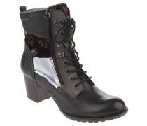 Boots, Schnür-Optik, Material-Mix, Samt-Verzierung, Schwarz