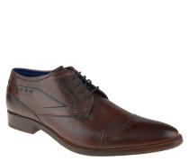 Schnürschuhe, Leder, Derby-Stil, abgesetzte Kappe, Braun