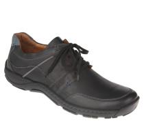 Schnürschuhe, Leder, Fußbett, Schwarz