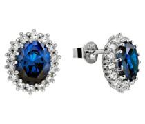 Ohrstecker, oval, blau, Silber, mit Zirkonia, 62-1368-1-089