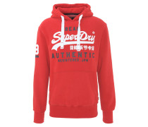 Sweatshirt, Logo-Print, Kapuze, Kängurutasche, Rot