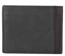 Brieftasche, genarbtes Leder, aufklappbar, Schwarz