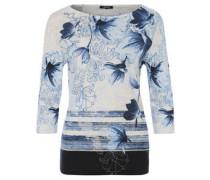 Shirt, 3/4-Arm, Blumen-Druck, Strass