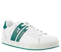 Sneaker, Leder, Skater-Stil, farbige Sohle, Weiß