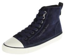 Sneaker, hoher Schaft, Samt-Optik, Schnürung, Blau
