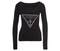 Pullover, enganliegend, Strass-Besatz, Marken-Logo, Schwarz