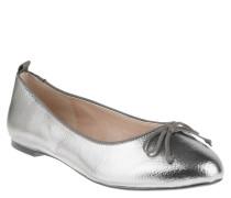 Ballerinas, Metallic-Optik, strukturiert, Zier-Schleife, Silber