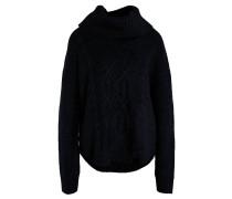 Pullover, Grobstrick, Zopf-Muster, abgerundeter Saum, Woll-Anteil, Schwarz