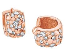 Creolen mit mehrfarbigen Kristallen rosevergoldet