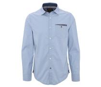 Hemd, Allover-Print, Brusttasche, Blau
