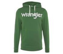 Sweatshirt, Kapuze, uni, Logo-Print, Baumwolle, Grün