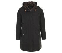 "Mantel ""Beachley"", Wachs-Design, uni, Kapuze, Taillenzug, Braun"