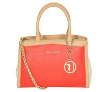 Handtasche, Narben-Optik, Emblem, Anhänger, Rot