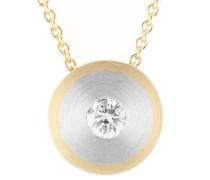 Solitär Diamant-Anhänger Platin/Gold 750 mit Gold 750 Ankerkette