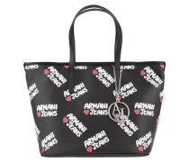 Shopper, Marken-Print, Logo-Anhänger, Schwarz