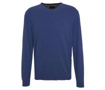 Pullover, Woll-Mix, V-Ausschnitt, uni, Blau