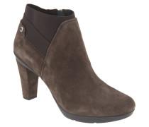 Ankle Boots, Leder, Trichterabsatz, dehnbarer Schaft, Taupe