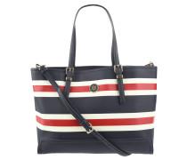 Handtasche, gestreift, Logo-Emblem, Umhängeriemen, Blau