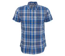 Freizeithemd, Slim Fit, Kurzarm, Karo-Muster, Button-Down-Kragen, Blau