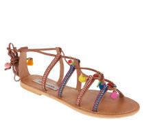 Sandalen, Bommel, Deko-Steine, Flecht-Optik, Schnürung, Mehrfarbig