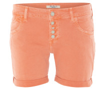 Jeans-Shorts, Used-Look, Five-Pocket-Style, Aufschläge, Orange