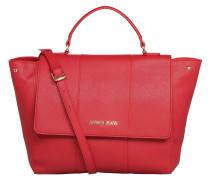 Handtasche, Kunstleder, Saffiano-Optik, Logo, Rot