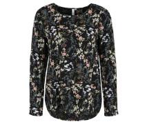 Blusenshirt, florales Muster, Perlmutt-Knöpfe, Schwarz