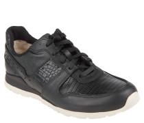 Sneaker, Animal-Muster, Leder, Schwarz