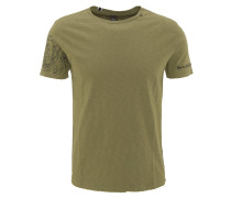 T-Shirt, Baumwolle, Flammgarn, Print, Oliv