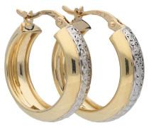 Kreolen, diamantiert, 375er Gold