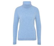 Pullover, meliert, Kaschmir, Rollkragen, Blau
