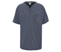 T-Shirt, meliert, Henley-Kragen, Brusttasche, Große Größen, Blau