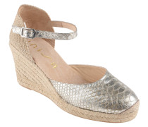 Sandaletten, Bast-Besatz, glänzende Animal-Optik, Fersen-Cut-Out