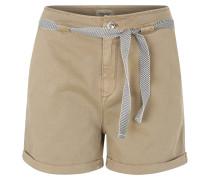 Shorts, Baumwollmischung, Bindegürtel, Braun