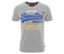 T-Shirt, Logo-Print, dicker Stoff, Grau