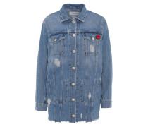 Jeansjacke, Destroyed-Effekte, Brosche, langer Schnitt, Blau
