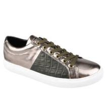 Sneaker, Leder, Reptilien-Optik, Metallic-Optik