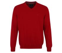 Pullover, Feinstrick, Baumwolle, V-Ausschnitt, Rot