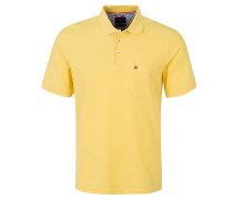 Poloshirt, aufgesetzte Brusttasche, gerippte Ärmelabschlüsse, Gelb