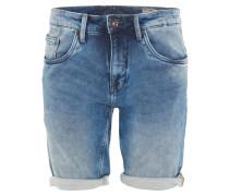 Jeans-Bermuda, Regular Fit, Denim, Used-Look, Blau