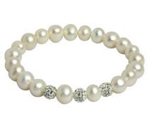 Perlen-Armband elastisch mit weißen Kristallen 7,0-8,0mm