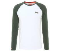 Langarmshirt, zweifarbig, Logo-Stickerei, Weiß