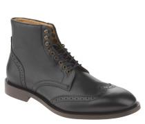 Stiefel, Brogue-Stil, Lyralochung, Leder, Schwarz