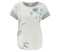 T-Shirt, Material-Mix, Frontprint, Grau