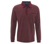 Poloshirt, Langarm, gestreift, Brusttasche, Rot
