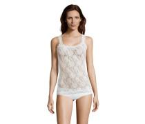 Unterhemd, florale Spitze, Rundhalsausschnitt, Weiß
