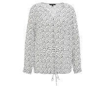Bluse, Tunika-Stil, Allover-Print, geraffter Saum, Weiß