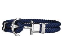 Ankerarmband PHREP IP Silber Nylon Marineblau 18 cm