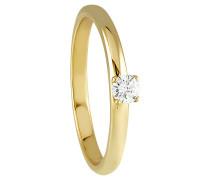 Diamant-Ring, Gelb 375, 0,12 ct.