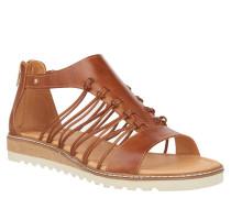 Sandalen, Leder, Reißverschluss, Riemen, Braun